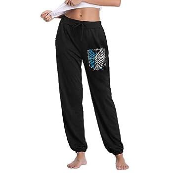Jotaro Attack On Titan Survey Corps Logo Sweatpants Bottom Long Pant with Pocket for Women Black