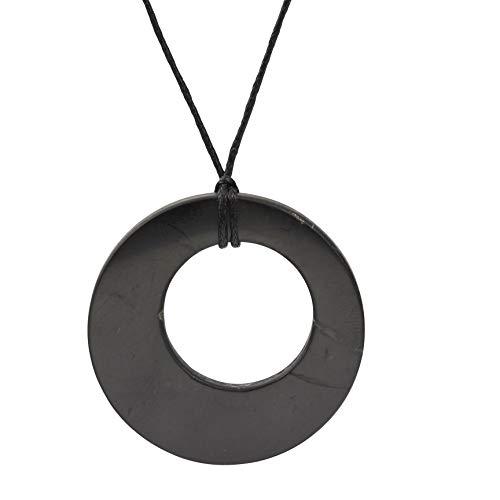 Heka Naturals Collar de Shungite con Colgante Diseño Doble Círculo Hecho de Piedra Shungit | Joyería de Shungita Moderna, Usada para Equilibrar Chakras y Energía | Doble Círcul