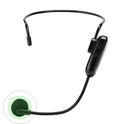 Annadue Micrófono Inalámbrico UHF, Micrófono Inalámbrico con Diadema de Transmisión con Emisor Recargable y Receptor de 3.5 mm para Amplificador de Voz, Altavoz de Escenario, Enseñanza, etc.
