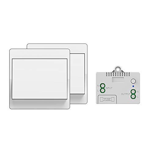 Interrupteur sans fil autoalimenté, sans pile, télécommande sans fil pour les lumières et appareils électriques, étanche et sûr, pouvant être installé directement dans une salle de bain, etc. (1 To 2)