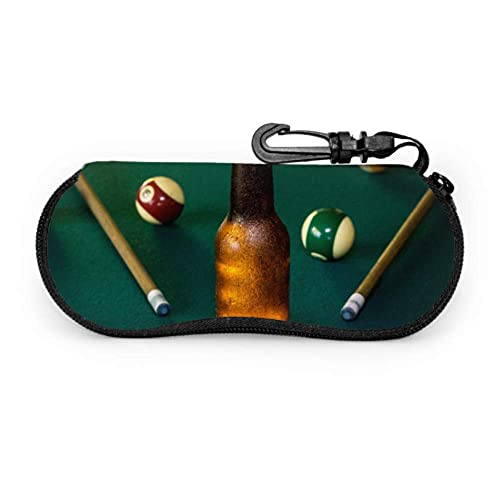 WHI-TS Billiards On The Red Felt Table Youth Glasses Case Soft Zippered Estuche para anteojos Light Portable Neoprene Zipper Soft Estuche para anteojos Girl Estuche para anteojos