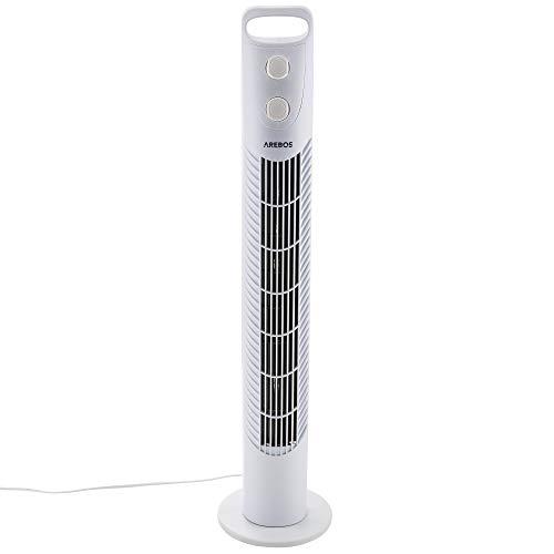 Arebos Ventilatore a torre con timer   40 watt   Oscillazione di 75 °   Ventola a 3 velocità   Testato TÜV GS   bianca