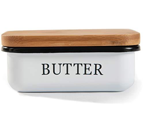 SYLANDO Butterdose, Butterglocke für 250 g Butter, Butter Dish aus Edelstahl, Butterschale mit Edlem & Nachhaltigem Bambusdeckel, Weiß