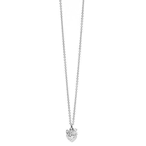 Guess Damen-Kette mit Anhänger Herz Messing Glas weiß 45.5 cm - UBN21583
