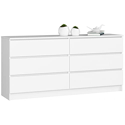 ADGO K160 - Cómoda moderna con 6 cajones (160 x 40 x 77 cm), color blanco