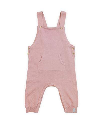 Jollein - Baby Latzhose Pretty Knit Blush Pink Größe 62/68 - Trägerhose aus 100% natürlicher Bio-Baumwolle - Hose mit Hosenträgern in Rosa - Strick Overall für Mädchen und Jungen (Unisex)