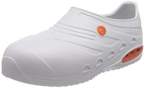 Safety Jogger Oxypas OXYSAFE Profi-Schuhe, leicht, waschbar, rutschfest, antistatisch, EVA, mit Sicherheits-Zehenschutzkappe und Stoßdämpfung (45/46, weiß)