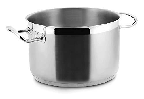 Braisi/ère Marmite Faitout Bas Couvercle Verre Tremp/é INOX 18 10 Compatible Induction Poign/ée Silicone Isolant 24/cm // 3,2/l ProCook Gourmet Steel