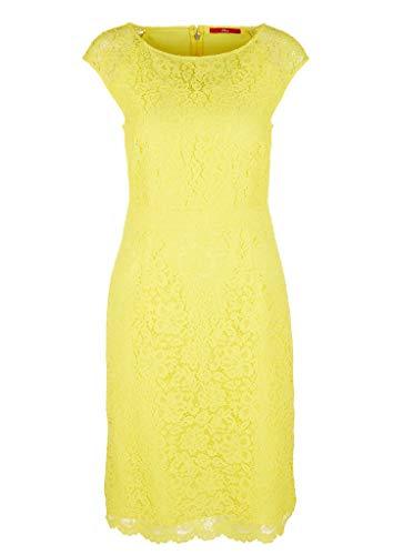s.Oliver RED Label Damen Kurzes Kleid aus Blütenspitze Light Yellow 36