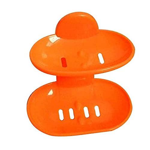 BSDIHRIWEJFHSIE Doble Jabonera Fuerte Ventosa Soporte para Jabón Montado en la Pared Litera Baño de Agua Cesta de Almacenamiento para Cocina Accesorios de Baño-Naranja, China