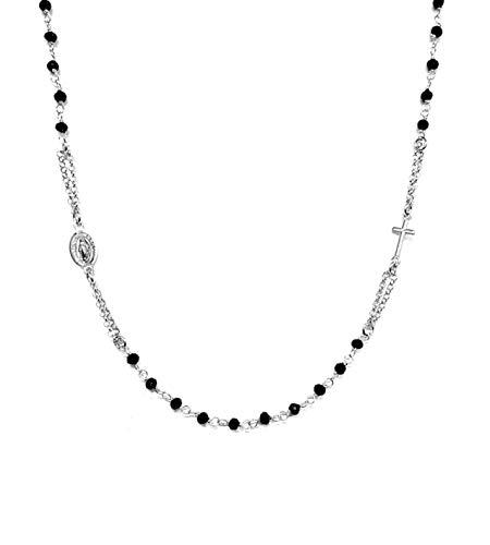 Collana A Rosario Girocollo In Argento 925 Con Perline Nere - Croce E Medaglietta Madonna - Linea Italia Gioielli Made In Italy