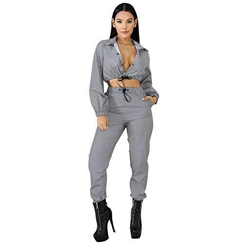 Xinvivion Damen Reflektierende 2 Stück Outfits Langarm Jacke Crop Top Elastische Taille Hosen Glitter Trainingsanzug
