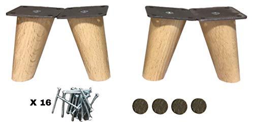 patas para muebles madera haya. Patas cónicas con inclinaci