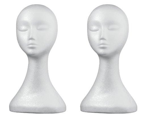 2 x Damen Styroporkopf Hutständer & Perückenkopf/ Kopf Lady ** extra hoch **