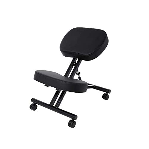 Bathwa Ergonomic Kneeling Chair, Posture Corrective Chair, Angled Kneeling Chair, Adjustable Stool with Moulded Foam Cushion and Caster for Home & Office
