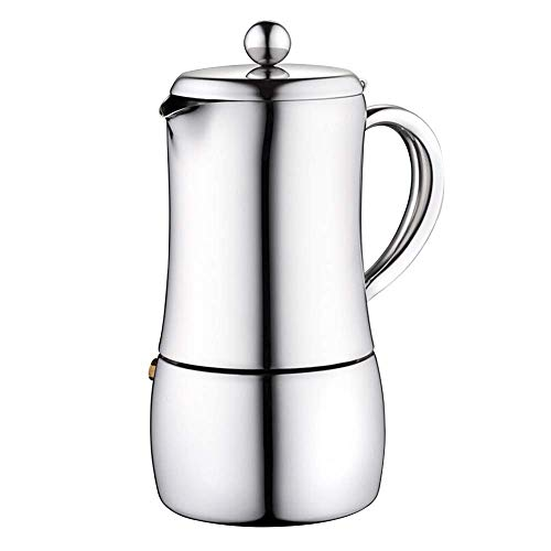 Coffee Moka Pot Acero Inoxidable Mocha Pot Fabricante de café Cafetera para el hogar Utensilios de café para café de Cuerpo Completo (Color: Plata, Tamaño: 10 Taza) BJY969