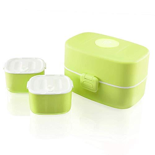 Look Back Kinder Brotdose - 3 integrierte praktische Dosen - Auslaufsichere Lunchbox mit extra kinderfreundlichem Besteck (grün)