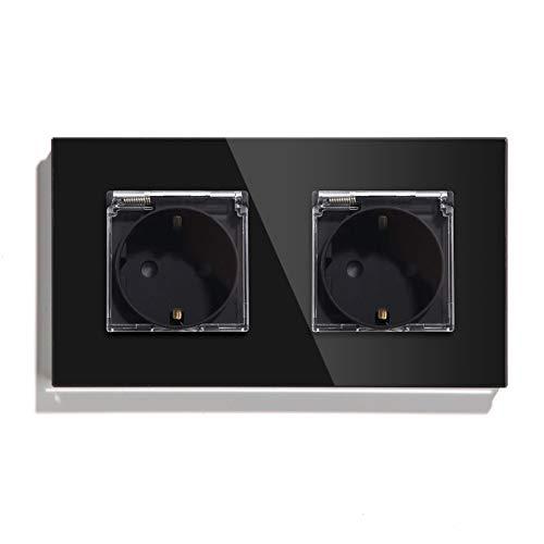 BSEED Enchufe de pared, Panel de cristal Schuko Enchufe con cubierta Negro Impermeable toma Doble 16A a 250V enchufes de extensión adecuado para Baño,cocina