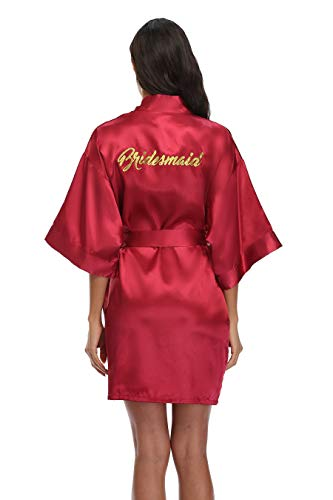 Women's Silky Bride Bridesmaid Kimono Robes Short Wedding Party Getting Ready Robe Dressing Gown with Gold Glitter, Bridesmaid Burgundy M