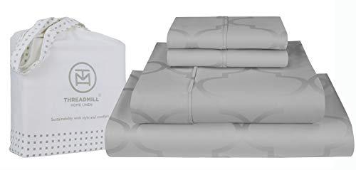 Threadmill Home Linen - Juego de sábanas de 3 piezas (300 hilos, 100% algodón de grapas largas, tamaño individual, XL, color plateado, ropa de cama de lujo, tejido de satén...