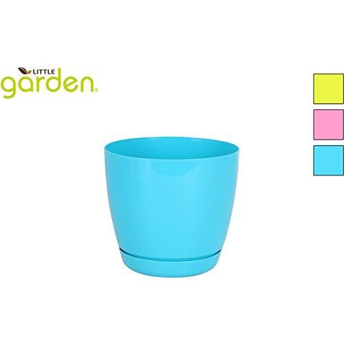 little garden 42444 Pot avec Soucoupe, 16 cm, 3 Couleurs Assorties