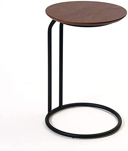 Soffbord Nordic Round Soffa Sidobord, Modernt minimalistiskt smidesjärn Soffbord, Vardagsrum Hörnskåp Förvaringsbord, Multifunktionellt sovrum Nattbord, Svart Heminredning End Table