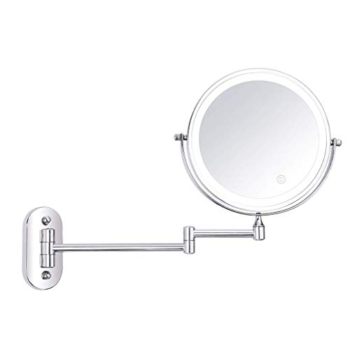 Makeup Mirror, Cosmetic Vanity Mirror Touch Adjustment LED 8 Inch Cosmetic Mirror Folding Double Sided 10X Magnifying Wall Mounted Beauty Mirror Best Luxury Quality LED Vanity Mirror Lights