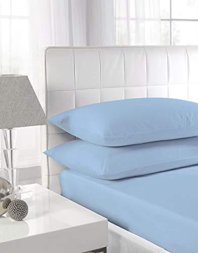 Nicarabia Luxury Bedding - Sábana bajera ajustable (100% algodón egipcio, 25 cm, 25 cm), color azul