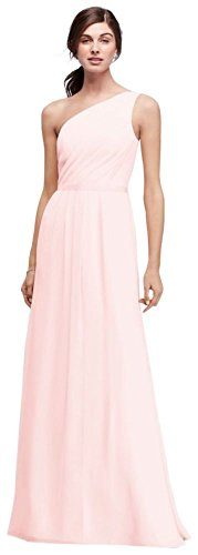 David's Bridal Side-Ruched One-Shoulder Bridesmaid Dress Style POB17003, Petal, 24