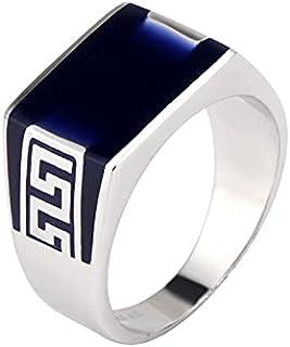 S925 خاتم رجالي مفتوح من الفضة الإسترليني بحجر العقيق الأسود الطبيعي