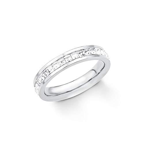S.Oliver Damen Ring Edelstahl veredelt mit Swarovski Kristallen Breite 4 mm weiß