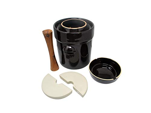 Fermentation Jar Crock Stoneware Pickling Set with Weights and Cabbage Tamper by Trademark Innovations