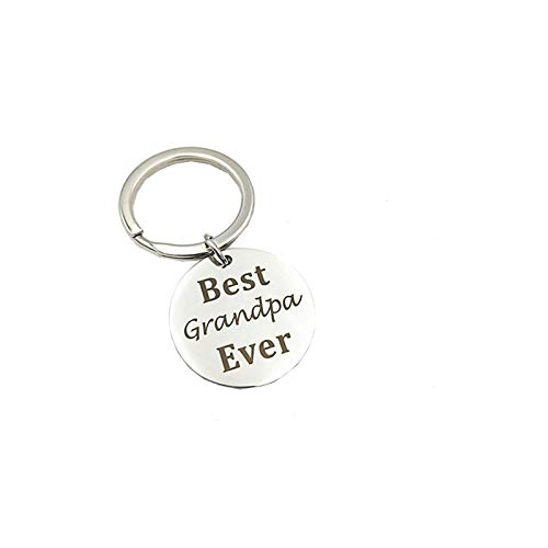Epinki Acciaio Inossidabile Portachiavi Best Grandpa Ever Rotondo Etichetta Argento Portachiavi per Donna e Uomo