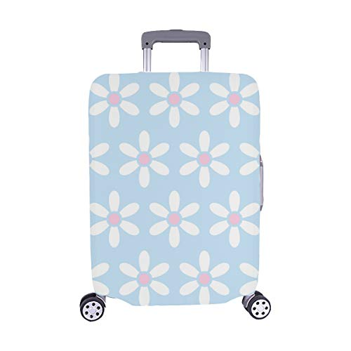 Pink Blue Flowers Polka Dot Clipart Pattern Spandex Trolley Case Travel Luggage Protector Suitcase Cover 28.5 X 20.5 Inch