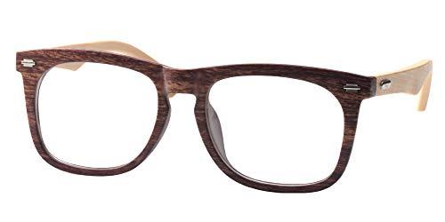SOOLALA Cool Retro Style Quality Wood Bamboo Arm Custom Strengths Reading Glasses, 2.0X