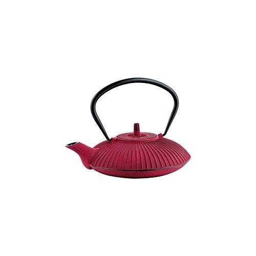 Théière en fonte plate - 0.8 L - rouge