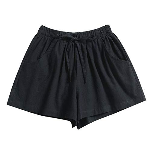 Xniral Damen Sport Shorts Sommer Kurz Hosen Elastische Schlafanzughose Kurz Schlafhose Kurze Baumwolle Shorts für Yoga Jogging Fitness Running(c Schwarz,M)