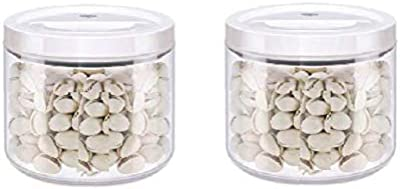 Homies, Set of 2, Round Vacuum Seal airtight Food Storage Canister, 700ml