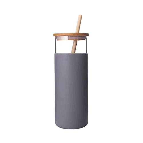 LilyJudy 17 oz vaso de vidrio portátil botella de agua de vidrio paja silicona funda protectora de bambú tapa-gris