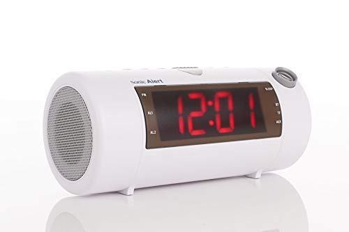 Sonic Alert Sonic Blast Super Loud Projection Alarm Clock with Bluetooth Speaker White - SB700W | High Definition Projector Time Display | Wake On-Time