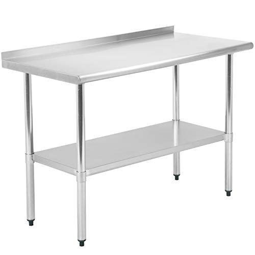 Commercial Prep Kitchen Work Table Stainless Steel Metal Table with Adjustable Foot Backsplash NSF Scratch Resistent and Antirust (24Wx48L)