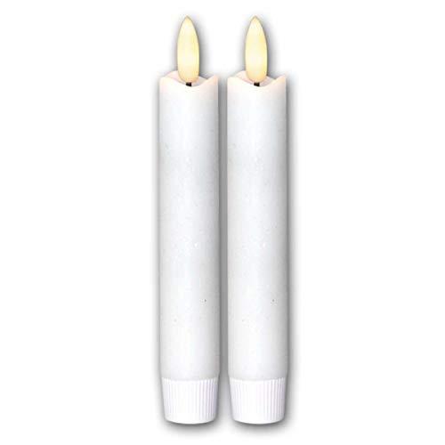 "LED Stabkerzen\""Flamme\"", 2er Set, weiß, 15x2cm"