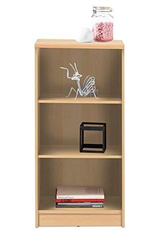 Wohnzimmerregal Standregal Bücherregal | 3 Fächer | Dekor | Buche | BxHxT: 54x111x34 cm