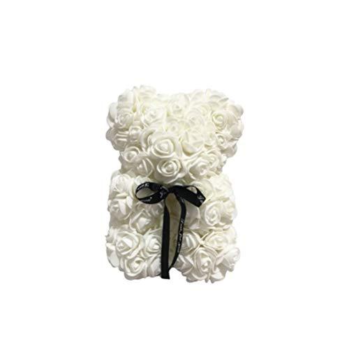 NUOBESTY 1Pc Künstliche Rose Bär 25Cm Rose Bär Simulierte Rose für Immer Blume Ewige Bär Liebe Herz Schaum Rose Dekor Pe Schaum Rose Bär Geschenk für Valentinstag Hochzeit Datum - Beige