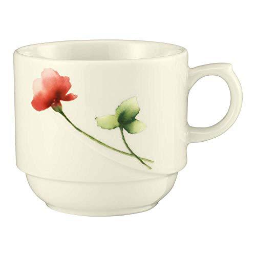 Seltmann 001.528947 Luxor Porzellan Obere zur Milchkaffeetasse, Rund mit Relief, Creme/Grün/Rot, 34426 Livorno Floral Dekor, 0.22 L, 8.1cm Durchmesser, 6.9cm Höhe, 6 Stück