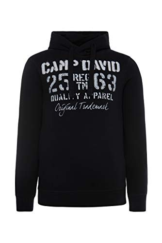 Camp David Herren Hoodie mit plakativen Label-Applikationen, Black, 3XL