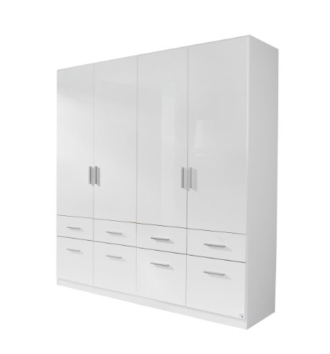 Rauch Möbel Celle Schrank Drehtürenschrank in Weiß / Hochglanz Weiß, 4-türig mit 8 Schubladen, inkl. Zubehörpaket Basic 1 Kleiderstange 2 Einlegeöden, BxHxT 181x197x54 cm