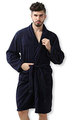 Pembrook Men's Robe – Navy - Size L/XL - Soft Fleece – Hotel Spa...