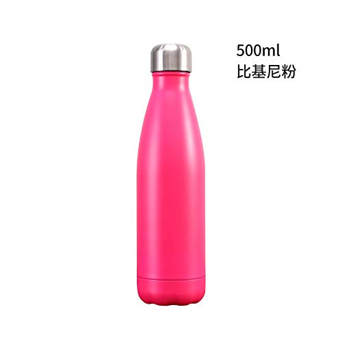Absir Large Capacity Water Bottle 304 Stainless Steel Leak Proof Bowling Shape Cup for Sports Travel Outdoor Matte - Bikini Powder 500ml