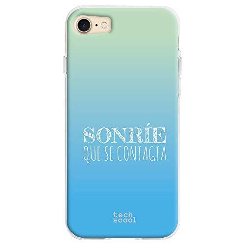 Funnytech Funda Silicona para iPhone 8 [Gel Silicona Flexible, Diseño Exclusivo] Frase Sonrie Que se contagia Vers.2